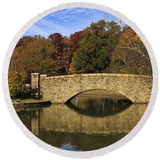 Bridge Reflection Round Beach Towel
