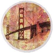 Bridge Rustic Round Beach Towel by Larry Bishop
