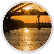 Bridge Sunrise 2 Round Beach Towel