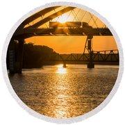 Bridge Sunrise #2 Round Beach Towel