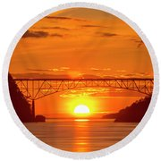 Bridge Sunset Round Beach Towel
