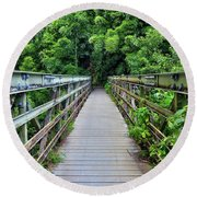Bridge To Bamboo Forest Round Beach Towel