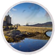 Bridge To Eilean Donan Round Beach Towel by Gary Eason