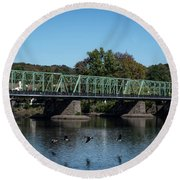 Round Beach Towel featuring the photograph Bridge To Lambertville 2 by Judy Wolinsky