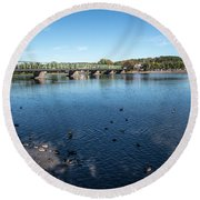 Bridge To Lamberville Round Beach Towel by Judy Wolinsky