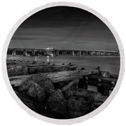 Bridge To Longboat Key In Bw Round Beach Towel