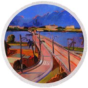 Bridge To Palm Beach Round Beach Towel