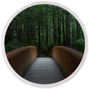 Round Beach Towel featuring the photograph Bridge To Serenity  by Dustin LeFevre