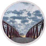 Bridge To The Clouds Round Beach Towel