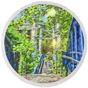 Round Beach Towel featuring the photograph Bridge To Your Dreams by LemonArt Photography