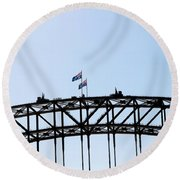 Round Beach Towel featuring the photograph Bridge Walk by Stephen Mitchell