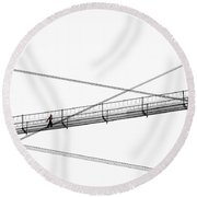 Bridge Walker Round Beach Towel by Joe Bonita