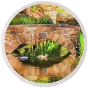 Bridge With Ducks Round Beach Towel