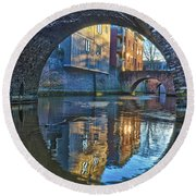 Round Beach Towel featuring the photograph Bridges Across Binnendieze In Den Bosch by Frans Blok