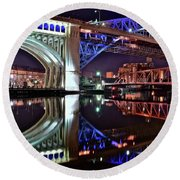 Round Beach Towel featuring the photograph Bridges by Frozen in Time Fine Art Photography