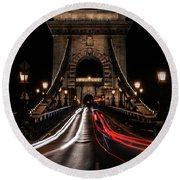 Round Beach Towel featuring the photograph Bridges Of Budapest - Chain Bridge by Jaroslaw Blaminsky