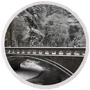 Bridges Of Multnomah Falls Round Beach Towel by Wes and Dotty Weber