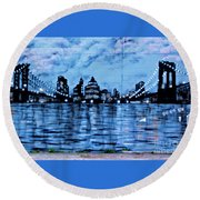 Bridges To New York Round Beach Towel
