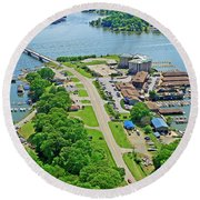 Bridgewater Plaza Aerial Round Beach Towel