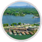 Bridgewater Plaza, Smith Mountain Lake, Virginia Round Beach Towel