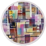 Round Beach Towel featuring the painting Bridging Gaps by Hailey E Herrera