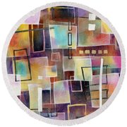 Round Beach Towel featuring the painting Bridging Gaps 2 by Hailey E Herrera
