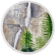 Bridal Veil Waterfall Round Beach Towel
