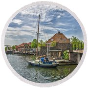 Round Beach Towel featuring the photograph Brielle Harbour by Frans Blok
