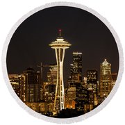 Bright At Night - Space Needle Round Beach Towel by E Faithe Lester