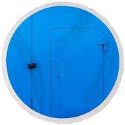 Bright Blue Locked Door And Padlock Round Beach Towel