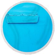 Bright Blue Paint On Metal With Postbox Round Beach Towel by John Williams