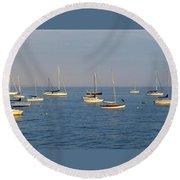 Bright Boats Round Beach Towel