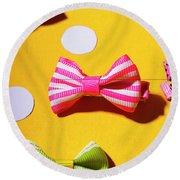 Bright Bow Tie Gallery Round Beach Towel