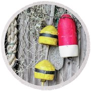 Bright Buoys I Round Beach Towel