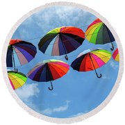 Bright Colorful Umbrellas  Round Beach Towel