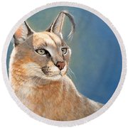 Bright Eyes - Caracal Round Beach Towel