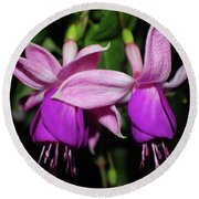 Bright Fuchsias Round Beach Towel