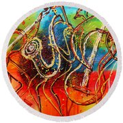 Bright Jazz Round Beach Towel