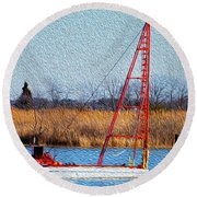 Bright Paintery Barge Round Beach Towel