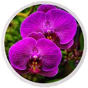 Bright Purple Orchids Round Beach Towel by Garry Gay