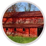 Bright Red Barn Round Beach Towel
