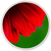 Bright Red Chrysanthemum Flower Petals And Stamen Round Beach Towel