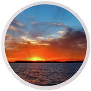 Bright Red Sunset Round Beach Towel by Doug Long
