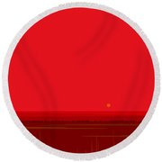 Round Beach Towel featuring the digital art Bright Red Sunset Landscape by Val Arie