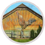 Bright Rooster Barn Round Beach Towel