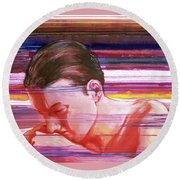 Round Beach Towel featuring the painting Bright Silence by Rene Capone