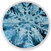 Bright Snowflake Round Beach Towel by Kathy Bassett