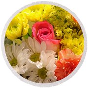 Bright Spring Flowers Round Beach Towel