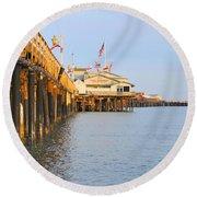 Bright Stearns Wharf Round Beach Towel