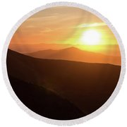 Bright Sun Rising Over The Mountains Round Beach Towel